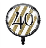 Folieballon '40' Black & Gold (46cm)