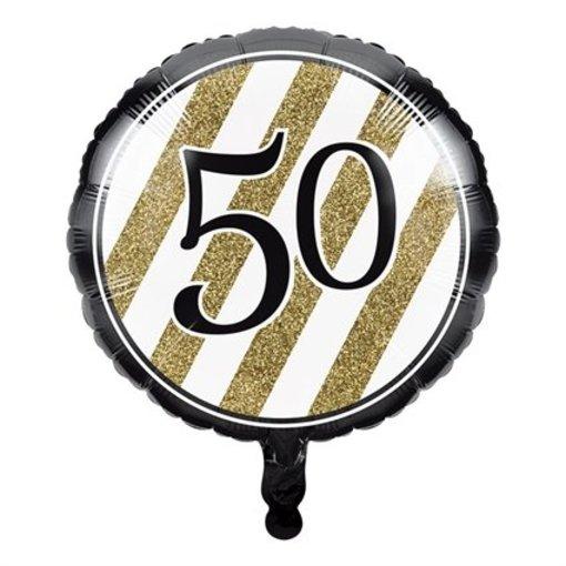 Folieballon '50' Black & Gold (46cm)