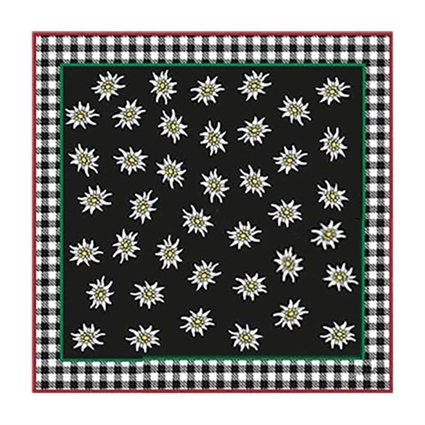 Tiroler sjaal edelweis zwart