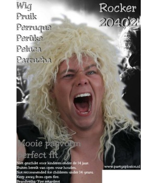 Pruik hard rocker blond