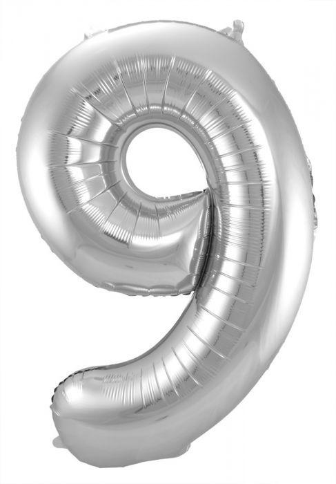 Zilveren Folieballon Cijfer 9 - 86 cm