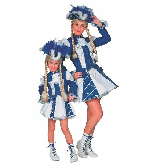 Dansmarietje kostuum kind blauw/wit