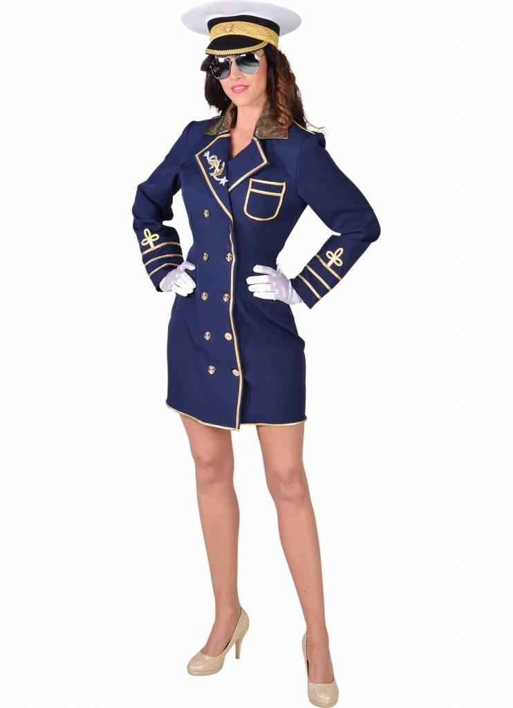 Kapitein jurk dames blauw