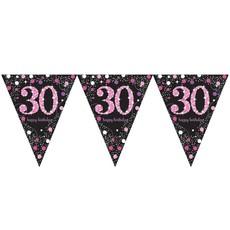 Happy Birthday vlaggenlijn 30 jaar sparkling pink