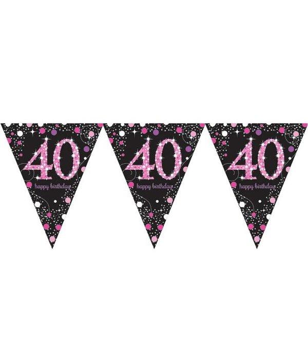 Happy Birthday vlaggenlijn 40 jaar sparkling pink