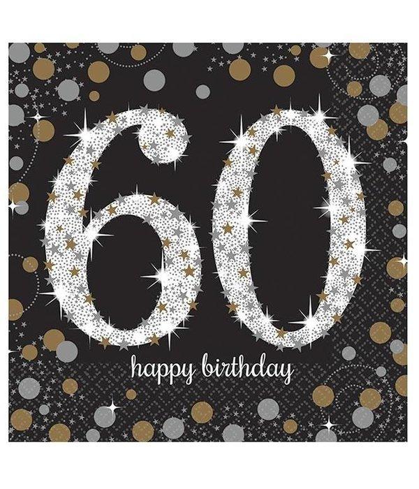 Servetten 60 jaar Sparkling Celebration