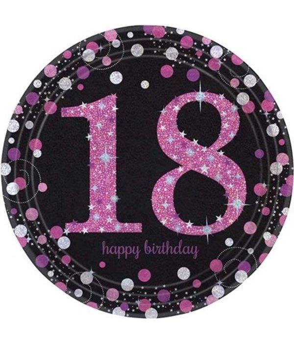 Bordjes 18 jaar Sparkling Pink