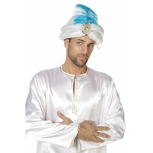 Tulband hoofddoek Zilver Met Veer