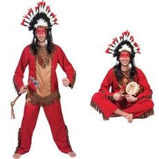 Indianen kostuum man rood