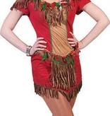 Indianen kostuum dames rood