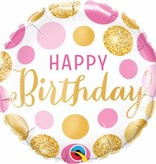 Pin & Gold stippen Happy birthday folie ballon 45cm