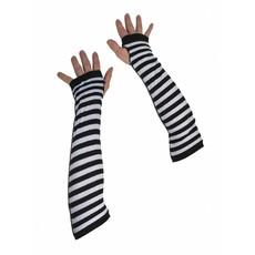 Handschoenen zwart/wit zonder vingers