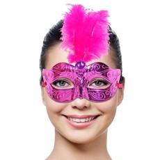 Venetiaans Masker magenta met veren