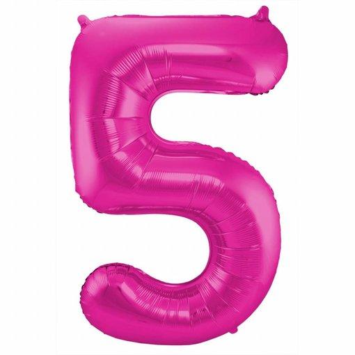 Roze Folieballon Cijfer 5 - 86 cm