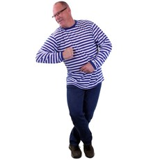 Dorus trui blauw/wit luxe lange mouw