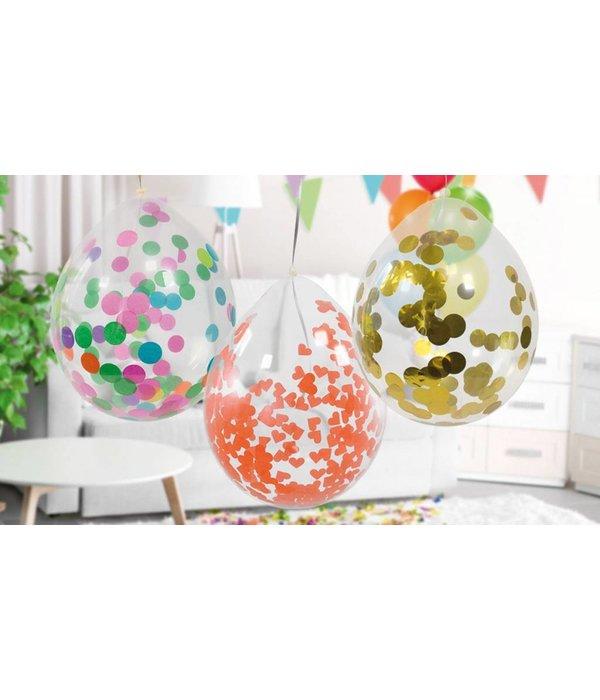 Confetti ballon met roze confetti - 4 stuks