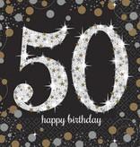 Servetten 50 jaar Sparkling zilver/goud