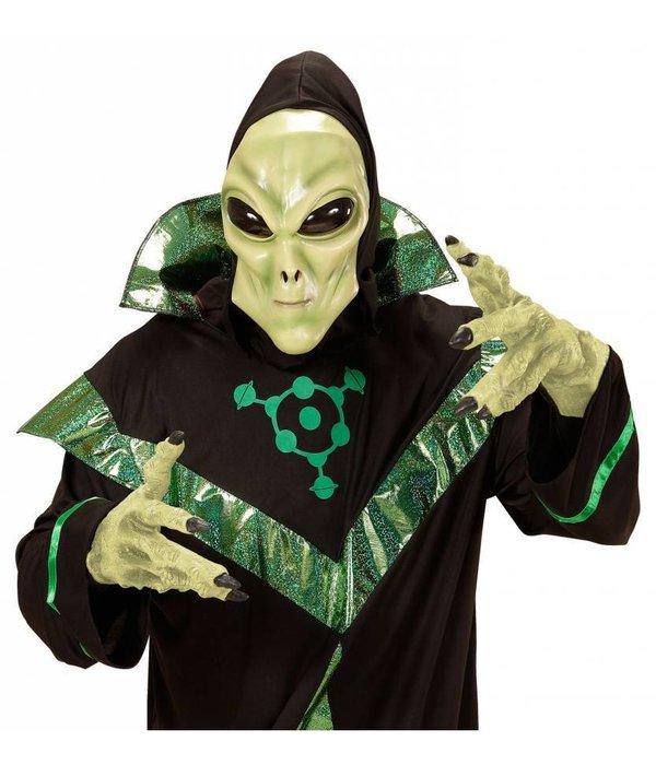 Alien masker met zwarte kap en bolle ogen kind
