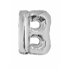 Folieballon zilver letter 'B' groot