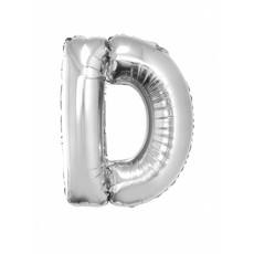 Folieballon zilver letter D groot