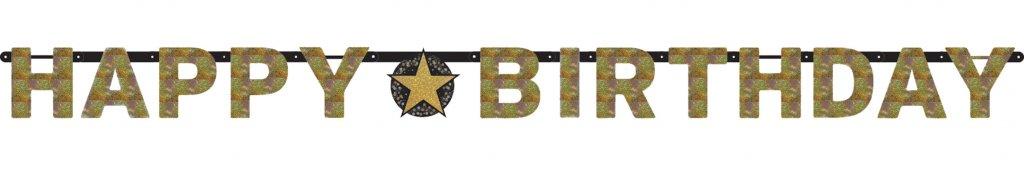 Happy Birthday letterslinger sparkling goud