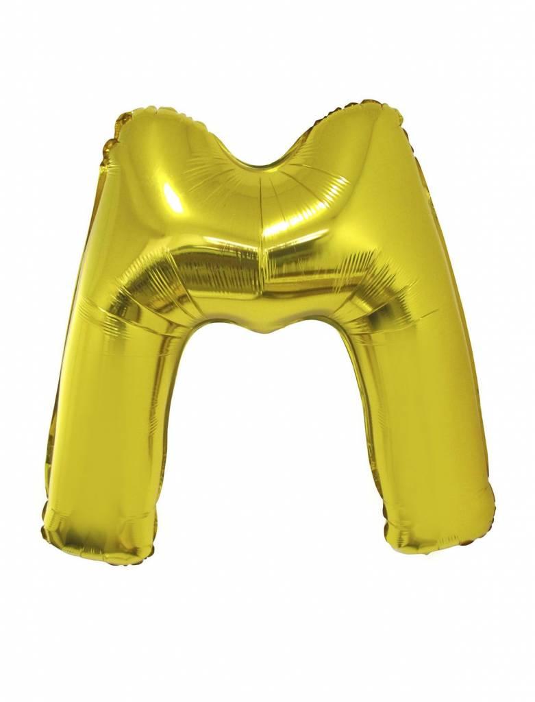Gouden letter ballon 'M' groot