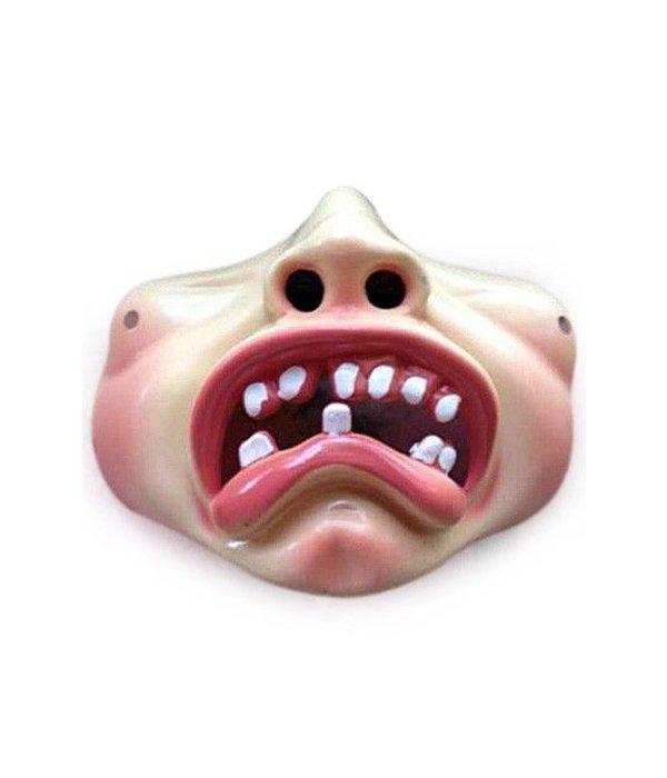 Bolle wangen masker met tandjes treurig