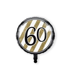 Folieballon '60' Black & Gold (46cm)