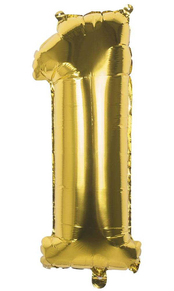 Cijfer ballon '1' folie goud 36cm
