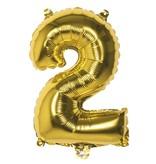 Folieballon cijfer 2 goud 36cm