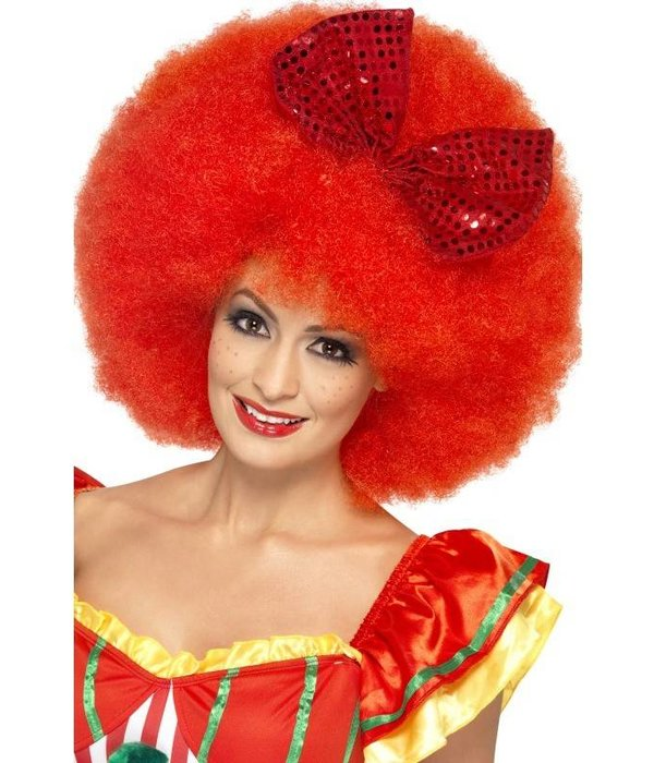 Pruik Afro clown rood met strik