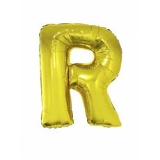 Folieballon goud letter 'R' groot