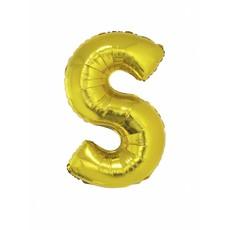 Folieballon Goud Letter 'S' groot