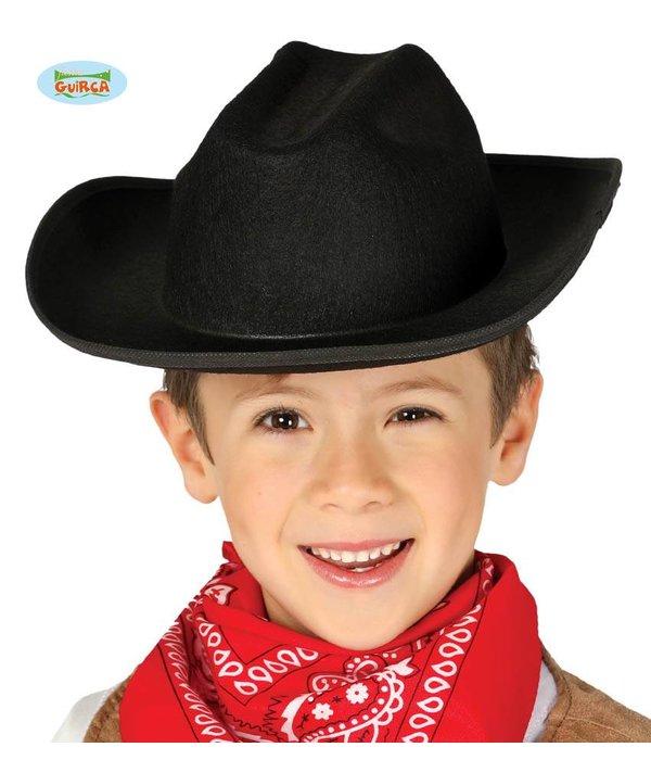 Zwarte Cowboyhoed kind vilt