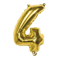 Folieballon Cijfer '4' Goud 36cm