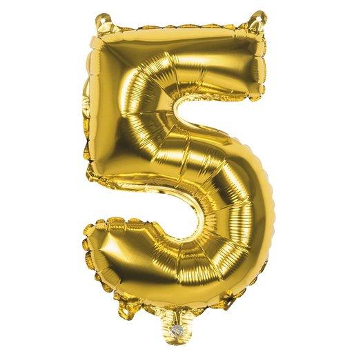 Folieballon Cijfer '5' Goud 36cm