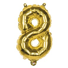 Gouden folieballon cijfer '8' 36cm