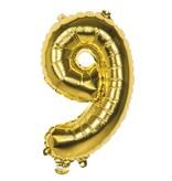 Gouden folieballon cijfer '9' 36cm