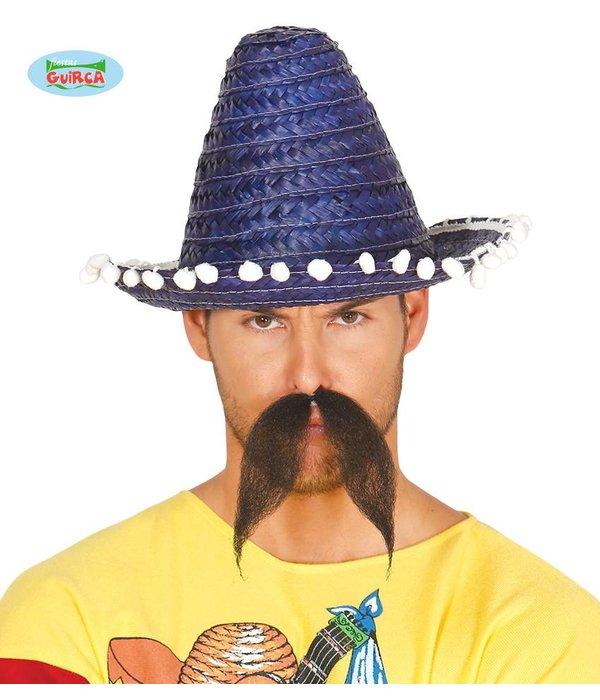 Mexicaanse sombrero blauw 33cm