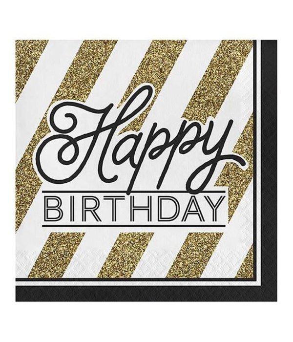 Servetten Happy Birthday Zwart/Goud
