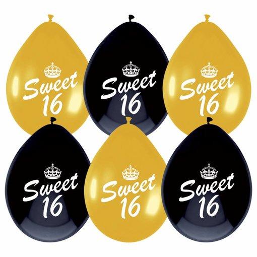 Ballonnen Sweet Sixteen Zwart/Goud