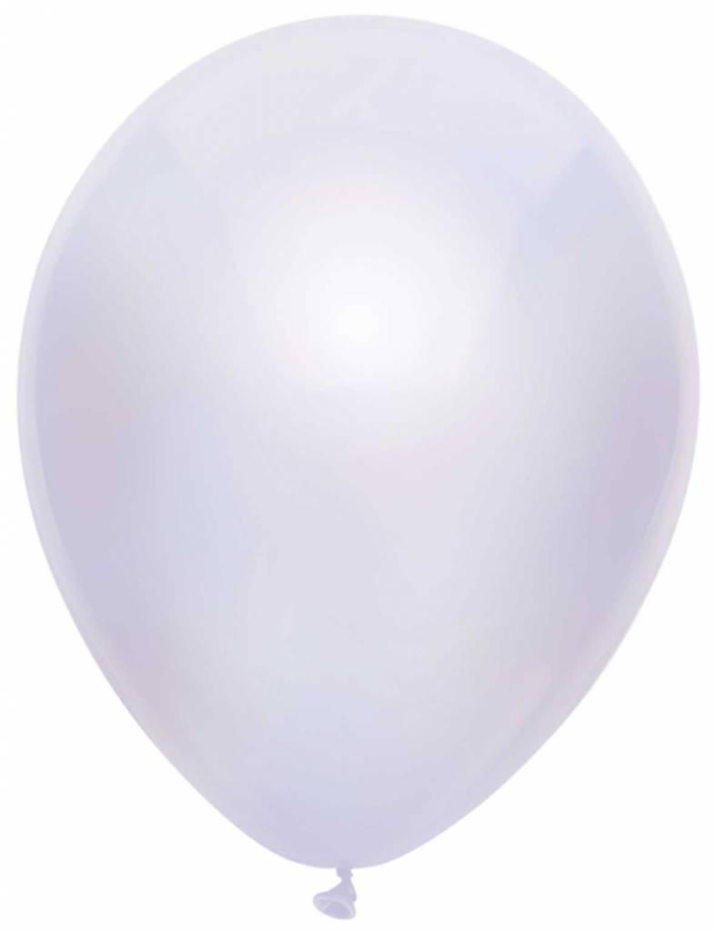 100 Metallic witte ballonnen 30cm