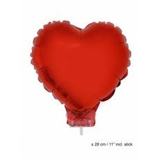 Folieballon Hart rood 28cm met stokje