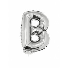 Folie Ballon Letter B Zilver met rietje