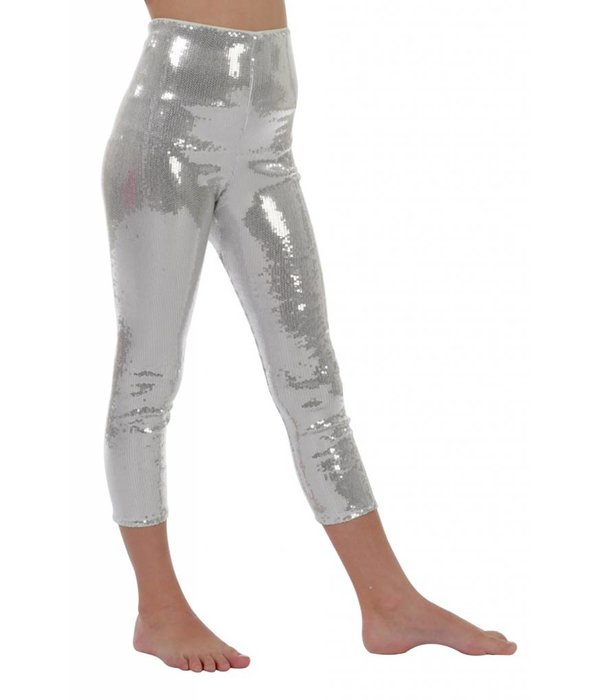 Legging pailletten zilver kind
