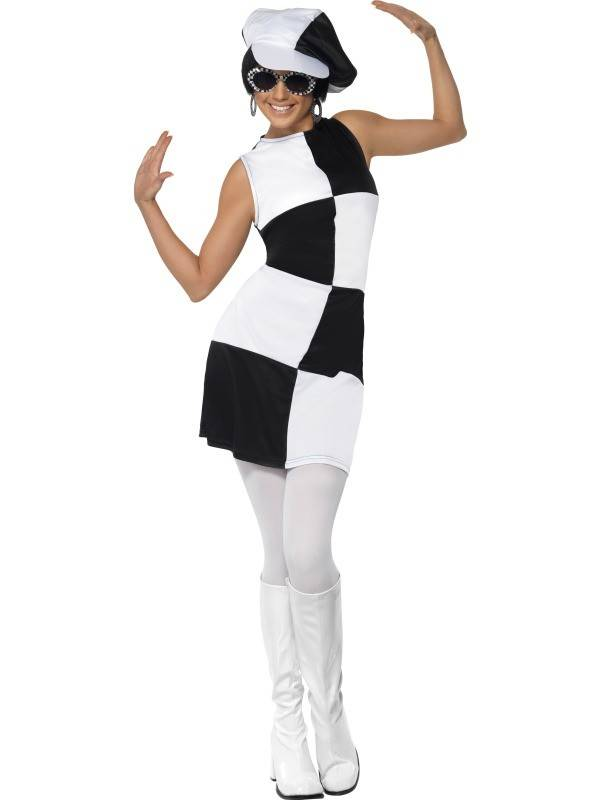60's partygirl zwart/wit