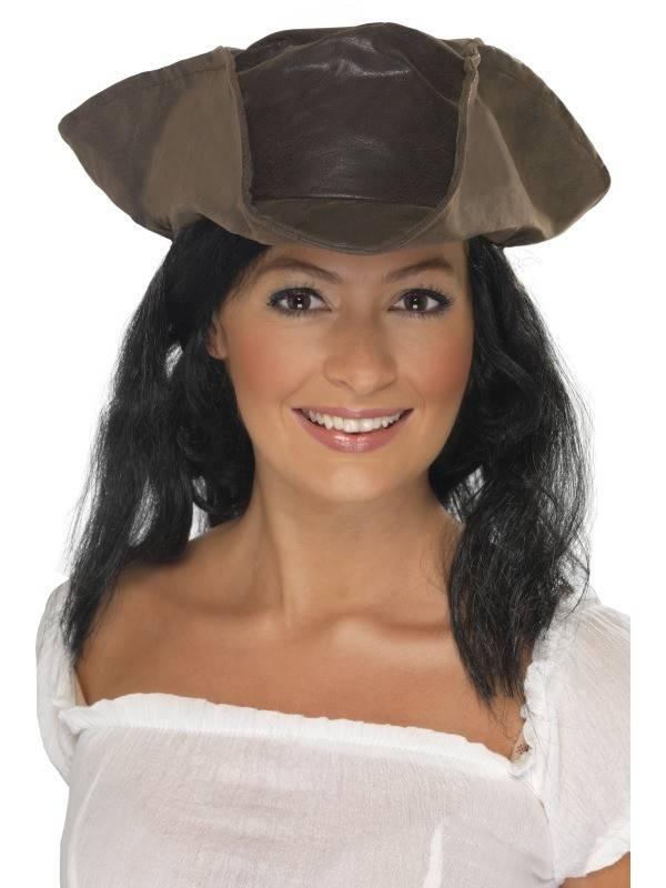 Piratenhoed lederlook bruin met haar