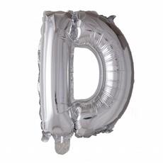 Folieballon zilver letter 'D' met rietje