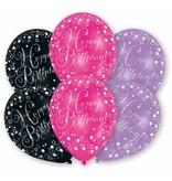 6 Happy Birthday ballonnen pink, paars en zwart