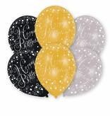 6 Happy Birthday ballonnen zwart, goud, zilver